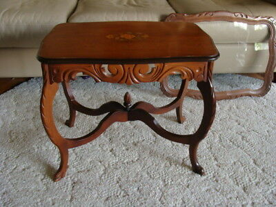 Antique Lift Top Tray Tea Serving Table Coffee Table Side Wood Floral Inlay
