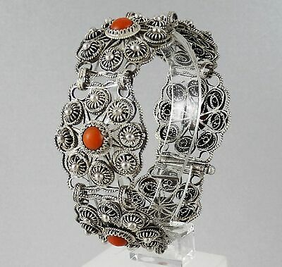 Antique Art Deco Handmade Filigree Sterling Silver Bracelet 34.74 g
