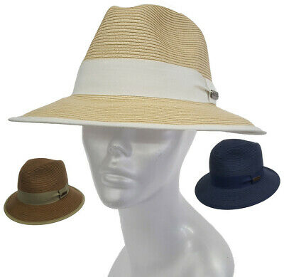 Women's or Men's packable hand sewn Toyo Straw Braid Trilby Fedora summer Hat