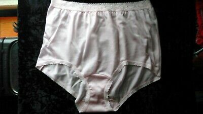 Vintage 100% Silky Nylon Panties Lace Trim Light Pink Size 7 Pillow Tab