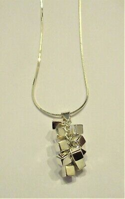 Vintage Sterling Silver Mid Century Modern Style Blocks Pendant With Chain