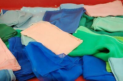 Collection Of 22x Mixed Colour & Size Vintage Silk & Chiffon Handkerchiefs