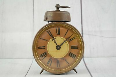 Antique Brass/ Tin Alarm Clock Long / Repeat Made in Wurttemberg Germany Working