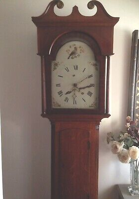 Lovely Longcase Grandfather Clock With Single Weight Movement In Oak Case.