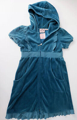 Juicy Couture Girls Velour Dress, Size Age 7, Blue, New, Bnwot