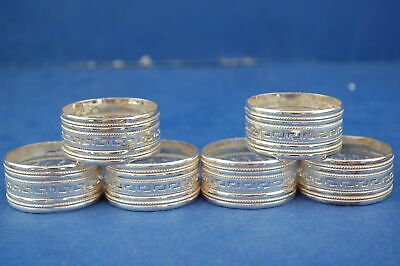 Sterling Silver Napkin Rings x6 Hallmarked 925 Cut Out Pattern Fine Dining