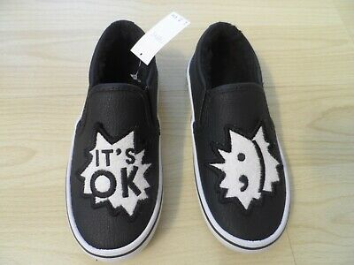 Next black & white ITS OK shoes boys cosy inner size 11 junior new