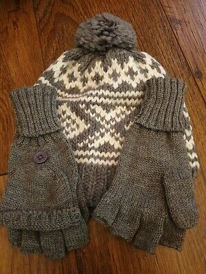 Boys Grey Hat And Gloves set Aged 8-12 Years