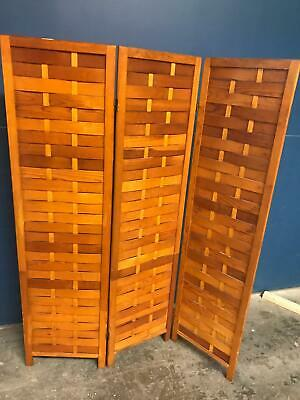 Mid Century Woven Wood Folding Screen 3 Panel Room Divider in Pine