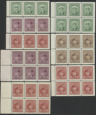 Canada Lot of 8 George VI War Issue Booklet Panes, 249b/254b, Mint VF NH