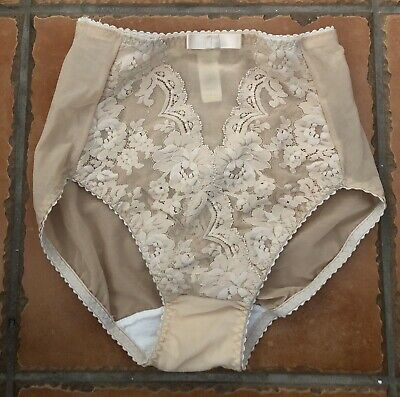 Vintage Victorias Secret Angels VS High Waisted Lace Nylon Brief Panties Small