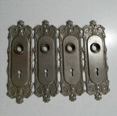 "Antique Vintage Nos 4 Silver Victorian Door Plate W/Keyhole Ornate 8""L Steel"
