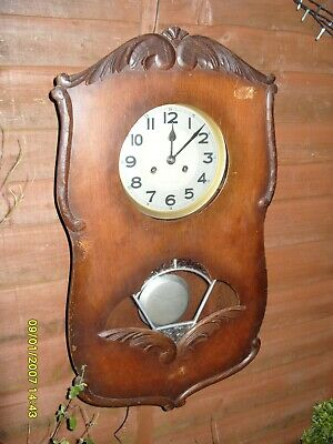 Wall Clock Large Clock Wooden Case Striking On Coil