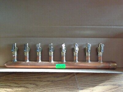 """8 Port 1/2"""" PEX Manifold with Valves by Sioux Chief 672XV0810L SWEAT (L)"""