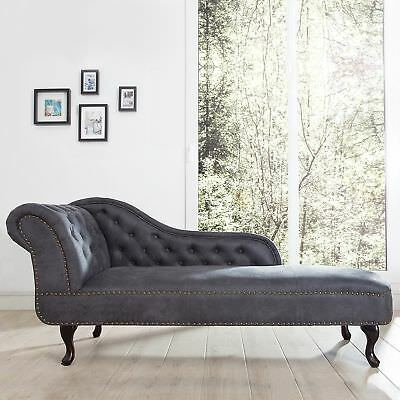 Cagü : Classy Design Chesterfield Recamiere [Winchester] Grey Chaise Lounge