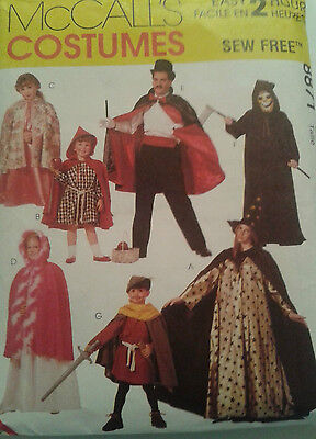 McCALLS 8871 SIZE 2-12 SEW FREE COSTUMES PATTERN -MAGICIAN-WITCH-PRINCESS