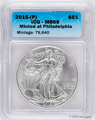 2015-P Silver American Eagle ICG MS69 (Struck at Philadelphia) Blue Label