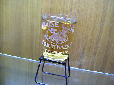 MOOSE CLUB STRAIGHT WHISKY shot glass SUPER RARE 1913-1917 URE DISTILLING, KC