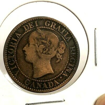 1859 CANADA 1C, Victoria Large One Cent, Scarce Early Canadian Coin KM#1