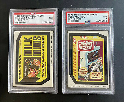1975 Topps Wacky Packages PSA 7 DUCK N HIDE and MILK MUDS