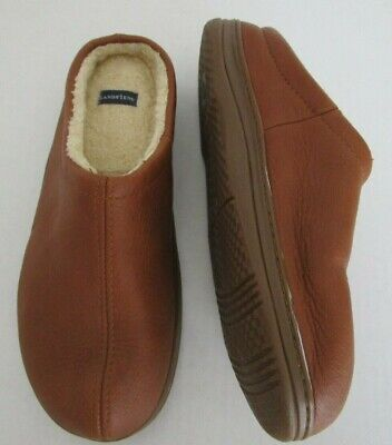 Lands' End Mens Size 11 M Leather Shearling Clog Slippers Cognac Slip On Shoes