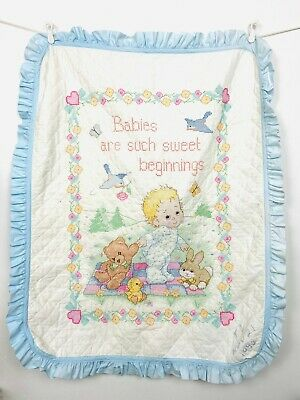 Vintage Handmade Cross Stitch Baby Quilt Babies Are Such Sweet Beginnings Blue