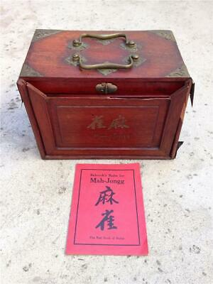 Antique Chinese Bone & Bamboo Mah Jong Set with 5-Drawer Wood Case & Rules Book