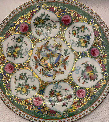 "Antique Chinese Rose Medallion Large Heavy Plate Butterflies/ Fruit10"" With Gold"