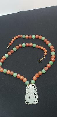 Antique Carved Asian Pendant-Jade-Beaded Necklace-Stone-20 In-Nr!
