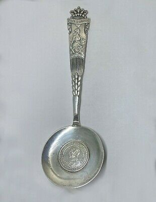 Unusually Large Danish Silver Souvenir Spoon Danmark w/ 1906 2 Kroner in Bowl