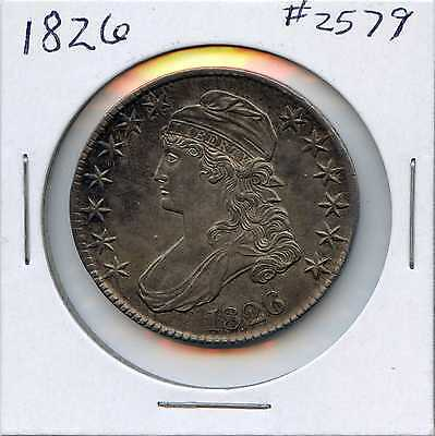 1826 50C Capped Bust Silver Half Dollar. Almost Uncirculated. Lot #2298
