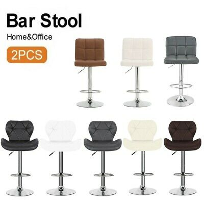 2×Bar Stools Leather Chairs Breakfast Kitchen Cushioned Chairs Swivel Gas Lift