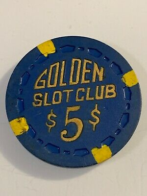 RARE 1955 GOLDEN SLOT CLUB $5 Casino Chip Las Vegas Nevada 3.99 Shipping