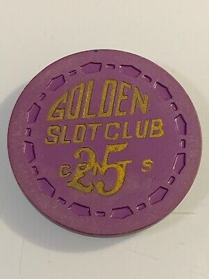 RARE 1955 GOLDEN SLOT CLUB $.25 Casino Chip Las Vegas Nevada 3.99 Shipping