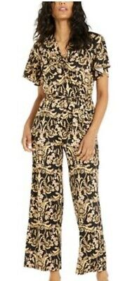 NY Collection Petite Black Gold Womens Medium  Short Sleeve  Front Tied JumpSuit
