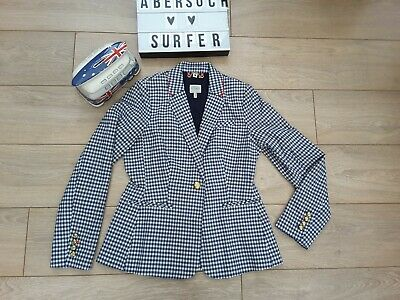 Joules French Navy Gingham Check Zayna Jacket Blazer navy blue cream uk 12
