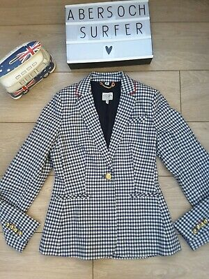 Joules French Navy Gingham Check Zayna Jacket Blazer navy blue cream uk 8