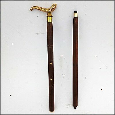 Vintage Victorian Style Brass Beautiful Handle Wooden Walking Stick Cane 36""