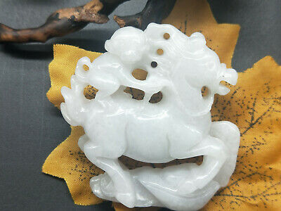 100% Chinese Delicate natural Hand-carved Jadeite jade Right away monkey pendant