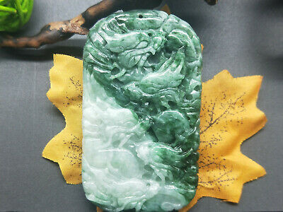 100% Chinese Delicate natural Hand-carved Jadeite jade pendant nine dragon
