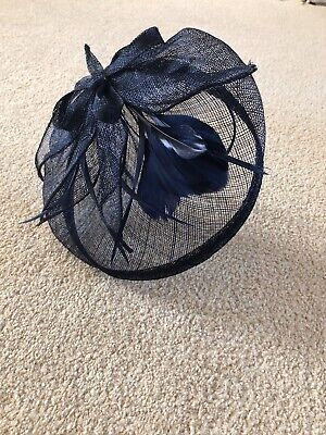 Navy Blue Hat Fascinator Hair Band Head Band Wedding Races Feather Sinamay