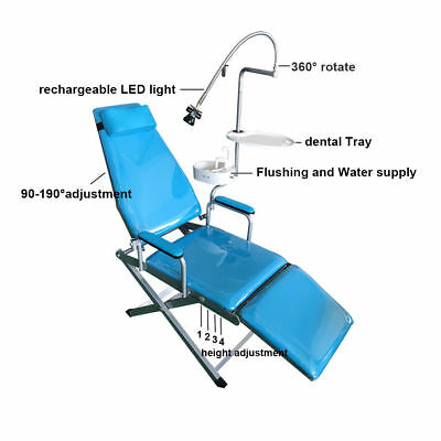 Dental Chair Folding Chair, Rechargeable LED Light, Flushing system,Dental Tray