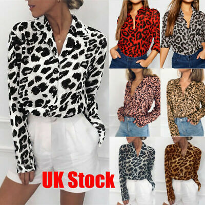 Womens Oversized Casual Leopard Long Sleeve Blouse Ladies Chiffon OL Shirt Tops