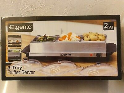 Elgento 3 Tray Buffet Server - New