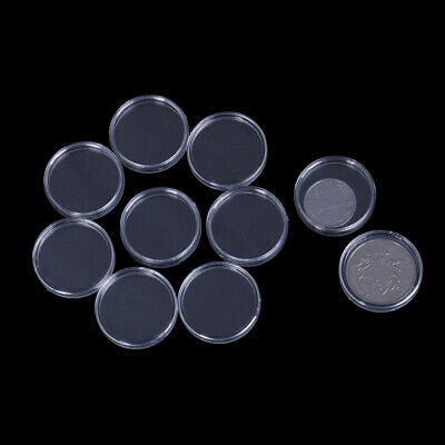 10Pcs 26mm plastic round applied clear cases coin storage capsules holder xzTOBX
