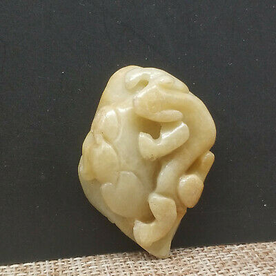 Chinese Hand-carved aristocratic wearing Jadeite jade pendant(jade brave troops)