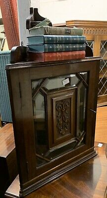 Petite Arts & Crafts Style Wall Hung Corner Cabinet / Cupboard