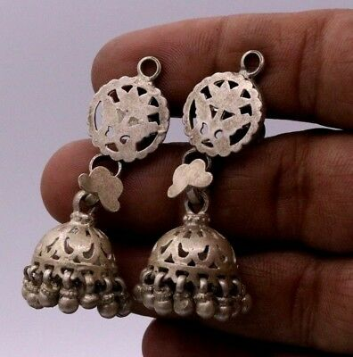 Ancient Vintage Antique Ethnic Old Silver Awesome Tribal Earring Belly Dance  16