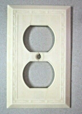 Leviton Outlet Plate Wall Cover Dots Diamonds Lines Beige Deco Bakelite Antique