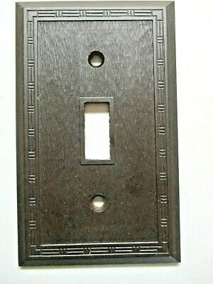 Snapit Switch Wall Plate Cover Textured Dashed Fine Lines Brown Bakelite Antique